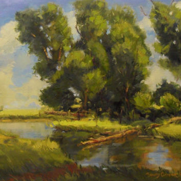 Silent Sunday, Fine art ACEO Print. Oil painting print by Brandy Cattoor. Peaceful Landscape painting with green trees.