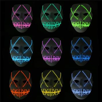 LED Mask Light Up Funny The Purge Mask  Festival Cosplay Halloween Decoration Costume New Year Cosplay Glow in Dark Lady Nimblesoul Official Universal Defenders Mask Macchar Cosplay Catalogue