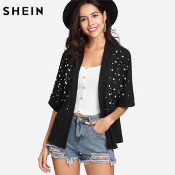 SHEIN Summer Top Kimono Spring 2018 Casual Womens Clothing Black Half Sleeve Open Front Pearl Beaded Detail Kimono
