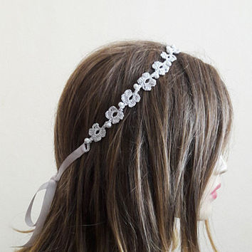 Crochet Headband wedding accessory handmade headbands pearl  hair accessories hairband  for Women gift ideas