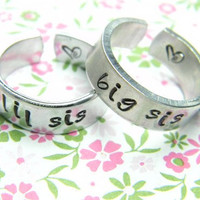 big and lil  sister two aluminum cuff style  rings 1/4 inch