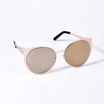 Perverse Retro Style Gold Shimmer Cat Eye Lola Sunglasses