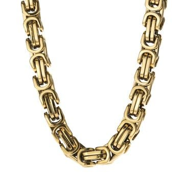 8mm Large Gold Stainless Steel Byzantine Chain