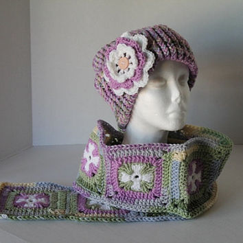 Purple and Green Granny Square Cross Scarf with matching Hat
