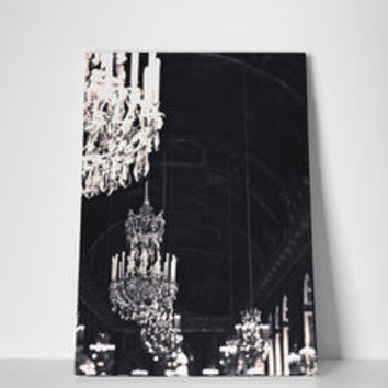 Black And Silver Chandelier Canvas Art