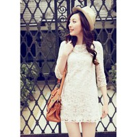 Rose Lace Perspective Skinny Dress