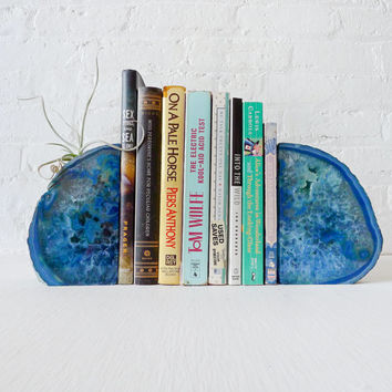 Ocean Blue Magic BookGardEndz - Crystal Bookends with Air Plant Garden - Blue Agate Geode - Set of Two - Unique Home Decor Planter