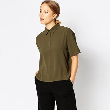 Army Green Collared High Neck Short Sleeve T-Shirt