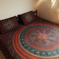 Indian Bedspread, Mandala Tapestry, Bed Sheet