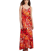 Calvin Klein Floral Dot Cowlneck Maxi Dress - Orange/Multi