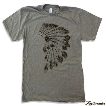 Mens Native American HEADDRESS american apparel t shirt S M L XL (17 Color Options)