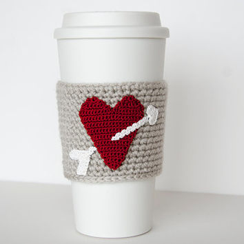 Cup Sleeve, Coffee cozy, valentine heart, true red, i love coffee, linen colored sleeve, white arrow, valentine for her, cup cozy