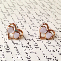 "Handmade ""Lady Coeur"" Upcycled Gold Heart Earrings with White Bow - Vintage Inspired"