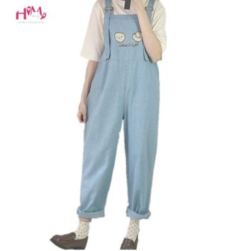 Fashion Women Denim Jumpsuit Japan Kawaii Style Cookies Embroidery Loose Jeans Blue Rompers Vintage Female Casual Overalls