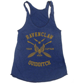 Ravenclaw Quidditch team Captain YELLOW print on Tri-blend Tank American Apparel TR308