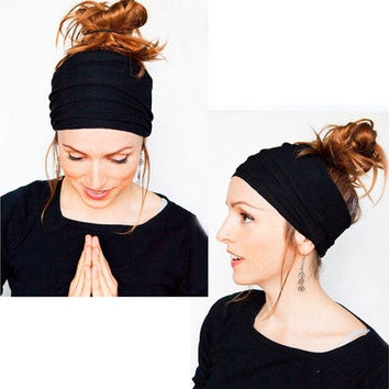 Soft Women Elastic Stretch  Running Wide Hairband Head Wrap Yoga Headband Turban [8833664140]