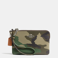 SMALLl-zip wristletin camo print crossgrain leather