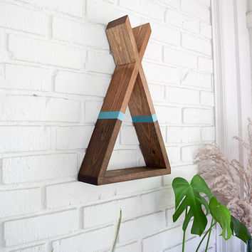 Teepee Shelf - Wood Floating Shelf with Gradient and Teal Stripe Accent - Woodland Nursery Tribal Triangle Shelf - Tepee Shelf - Tipi Shelf