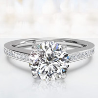 1.98ct H-SI1 Round Diamond Engagement Ring 18kt White Gold JEWELFORME BLUE GIA certified