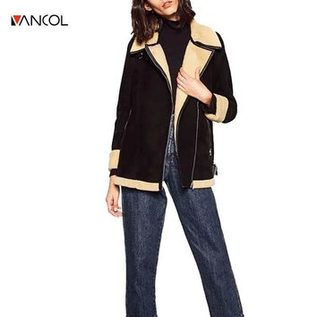 vancol 2016  fashion autumn mouton fur coat shearling winter coat lamb fur ladies biker jackets women autumn suede jacket fur