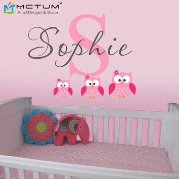 Owls Wall Decals Personalized Name Vinyl Wall Art Sticker Wallpaper Children Themed Room Wall Stickers Free Shipping