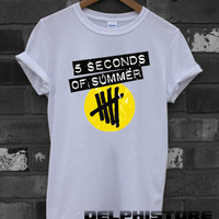 5sos shirt 5 second of summer shirt 5 sos t-shirt printed white unisex size (DL-41)