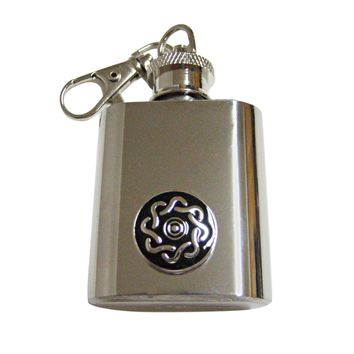 Shiny Round Celtic Design 1 Oz. Stainless Steel Key Chain Flask