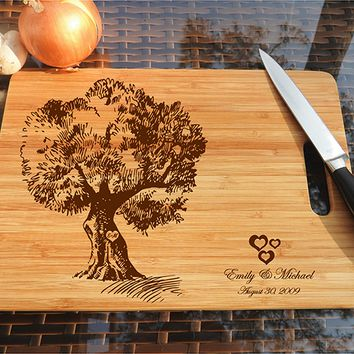 ikb510 Personalized Cutting Board Wood wooden wedding gift anniversary tree old first date