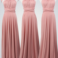 Long Wrap Dresses,Nude Pink Dress,Twist Wrap Dress,Infinity Bridesmaid Dress,Nude Pink Wrap Dress, Convertible Wrap Dress