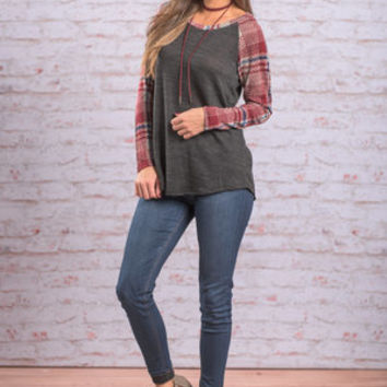 Love In An Unexpected Place Top, Charcoal-Burgundy