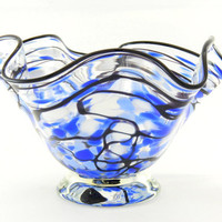 Hand Blown Art Glass Bowl - Lapis Blue, Pale Blue, White, and Black - Freeform