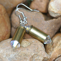 32 caliber brass bullet casing earrings with clear Swarovski crystals