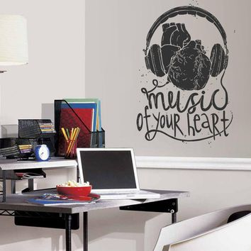 ik1313 Wall Decal Sticker Music headphones heart bedroom recording studio