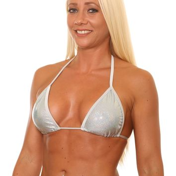 Silver Metallic Triangle Bikini Top Stripper Clothing