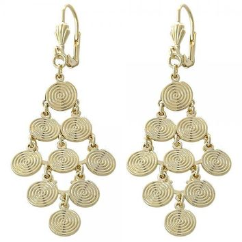 Gold Layered 02.63.2204 Chandelier Earring, Spiral Design, Diamond Cutting Finish, Gold Tone
