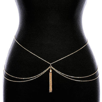 "31"" waist gold layered chain tassel fringe belt"