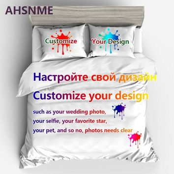 Cool AHSNME Custom Bedding Set Your Photo Customized Design Duvet Cover Sets King Queen Twin Size Custom DropshippingAT_93_12