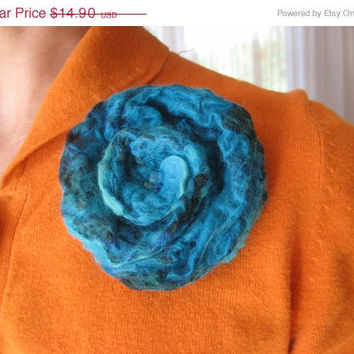 SALE Felt Blue Rose Flower Brooch Pin, Nuno Felted Wool Silk Teal Turquoise Green