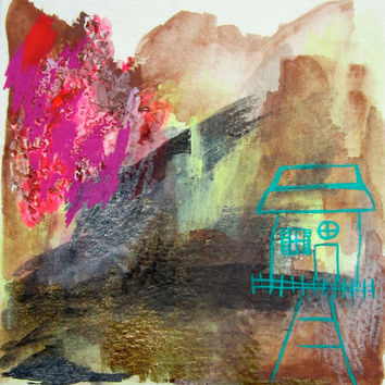 Mixed media, Drawing, Gouache, House, Original, Paper, Small, Watercolour, Metallic, Sketch, Pink, Artwork, Teal, Graphite, Geometric