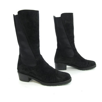 90s Black Suede Mid Calf Boots Stuart Weitzman Boots Pull On Elastic Boots Chunky Heel Boots Black Leather Chelsea Boots (5.5)