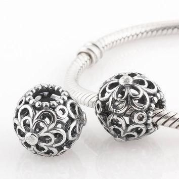 Sterling silver charm bead daisies for european bracelet fits pandora style
