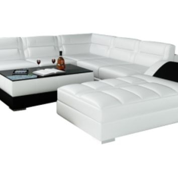 Unique Black Leather Sofa Sectional with Large Chaise Lounge - Opulentitems.com