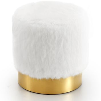 Estelle White Fur Ottoman/Stool