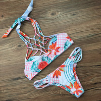 Flower Print Crisscross Hollow Bikini Set Swimsuit Swimwear