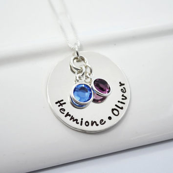 Personalized Hand Stamped Sterling Silver Mommy Necklace with Two Children's Names and Birthstones