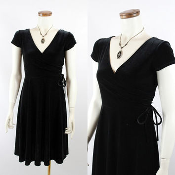 Vintage 90s - Black Stretch Velvet - Low Cut Cross Over Side Tie Bodice - Cap Sleeve - Short Full Skirt Wrap Dress