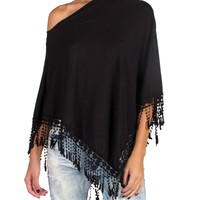Fringe Poncho Top - Large - Black /