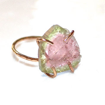 Rustic Watermelon Tourmaline Ring Tourmaline Ring Gold Filled Ring Size 6 Watermelon Tourmaline Slice Tourmaline Jewelry Delicate Ring
