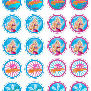 20  Barbie Mermaid Tale Party Collection Edible Rice Wafer Paper Cupcake Toppe