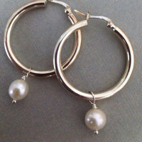 Sterling Silver Hoop Earrings with Pearl Dangle by JulianaWJewelry